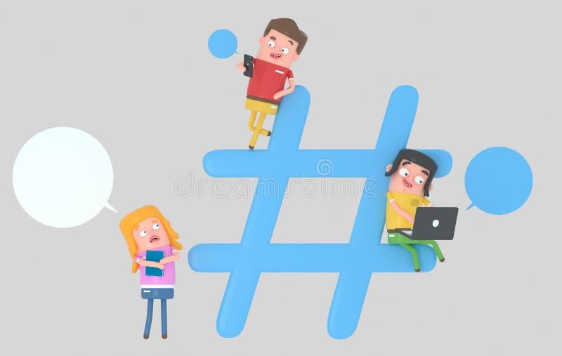 Gente joven sobre símbolo de Internet del hashtag ilustración 3D ilustración del vector