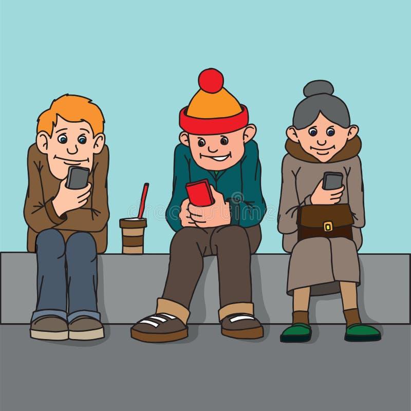 Gente joven y mujer de mediana edad Siéntese en el banco La atención no paga el uno al otro Escuche el musi libre illustration