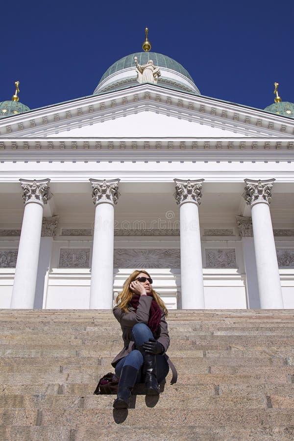 Gente: Llamada de teléfono de Helsinki imagen de archivo libre de regalías