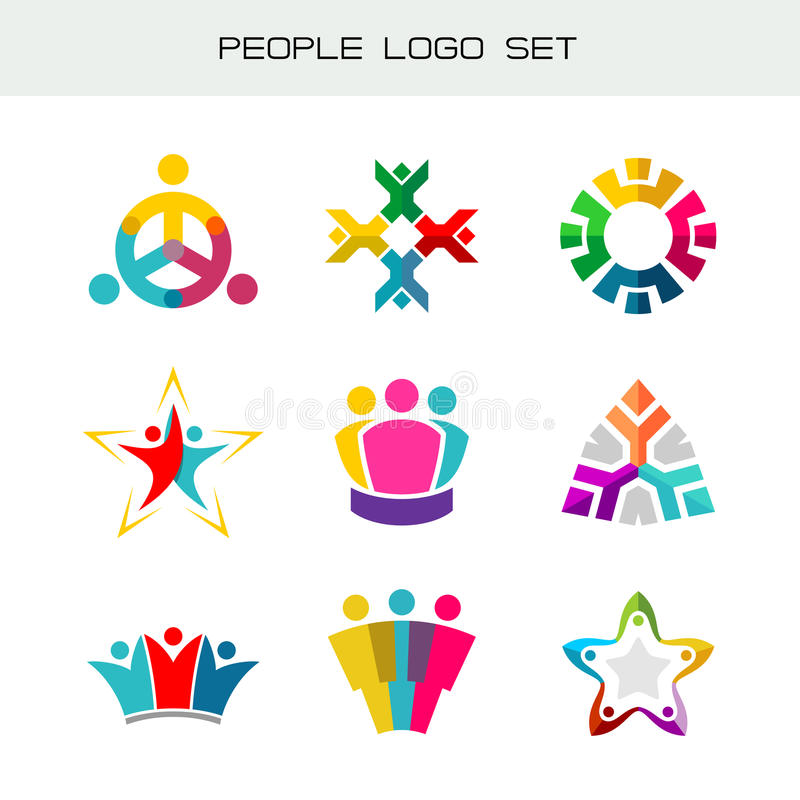 Gente Logo Set Grupo de dos, tres, cuatro o cinco logotipos de las personas stock de ilustración