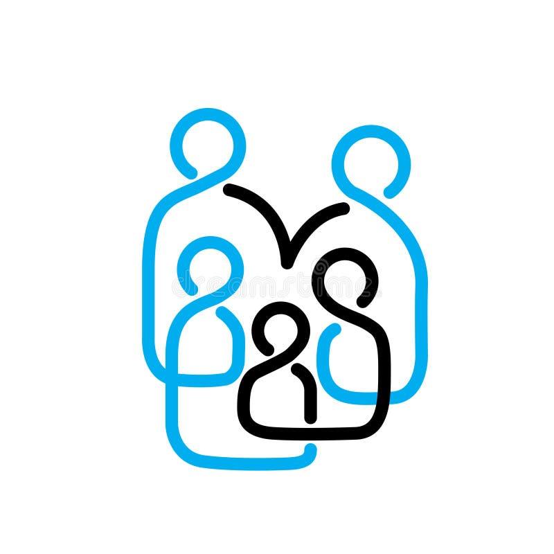 Gente Logo Vector Line de la familia ilustración del vector