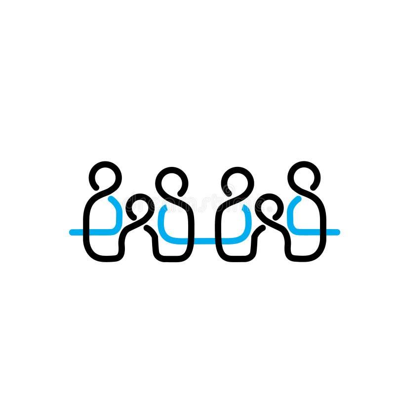 Gente Logo Vector Line de la familia stock de ilustración
