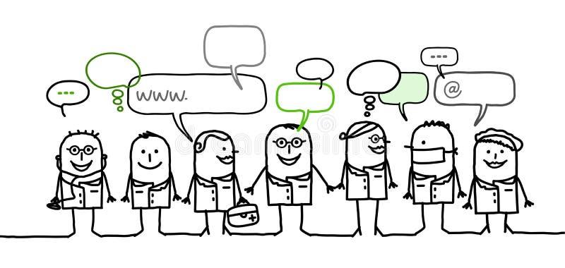 Gente médica y red social libre illustration
