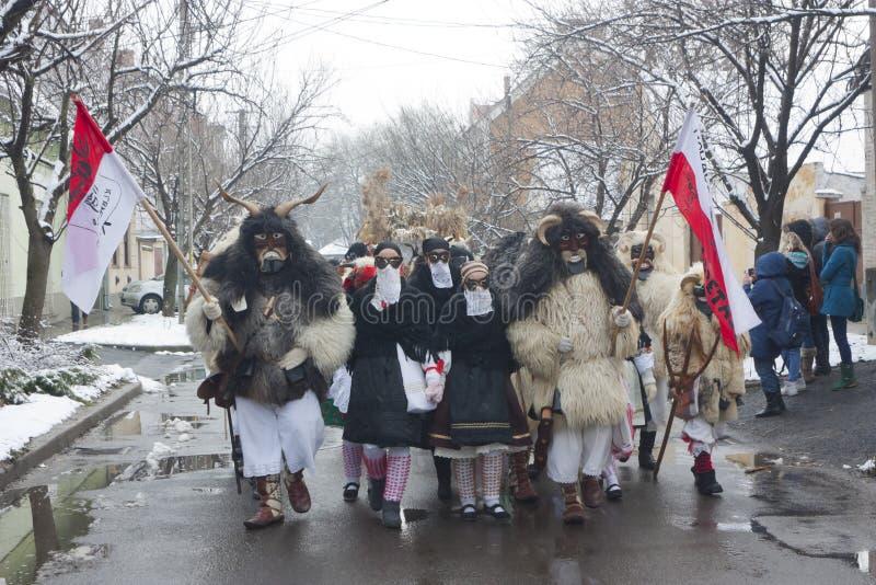 Gente in marcia in maschera e costume immagine stock libera da diritti