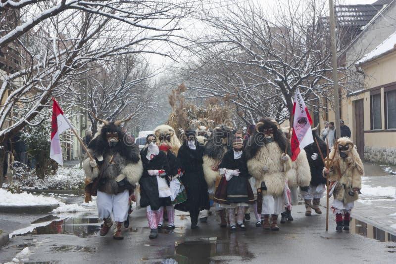 Gente in marcia in maschera e costume immagini stock libere da diritti