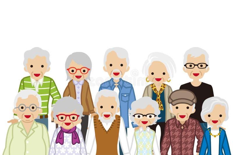 Gente mayor de junta, cintura para arriba stock de ilustración
