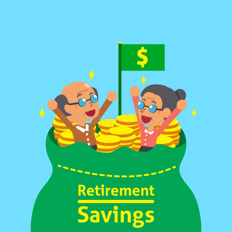 Gente mayor de la historieta con el bolso de los ahorros del retiro stock de ilustración