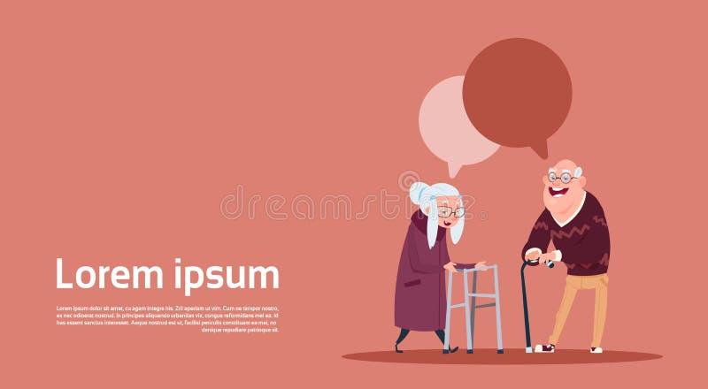 Gente mayor de los pares con la burbuja de la charla con el abuelo moderno y la abuela del palillo integrales ilustración del vector