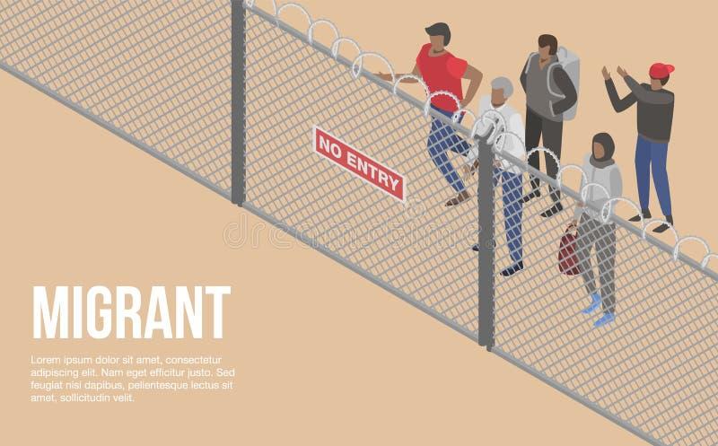 Gente migratoria en el fondo del concepto del país de la frontera, estilo isométrico libre illustration