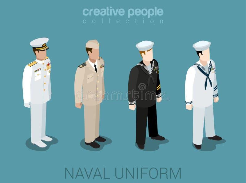Gente militar naval en sistema isométrico del icono del estilo plano uniforme libre illustration