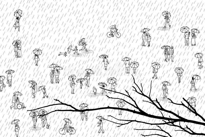 Gente minúscula con los paraguas y rama de árbol en el primero plano ilustración del vector
