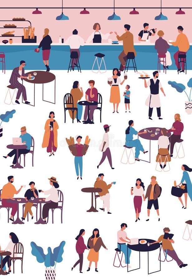 Gente minúscula en la barra del café, del café o del café express Hombres y mujeres que se sientan en las tablas, café de consumi stock de ilustración