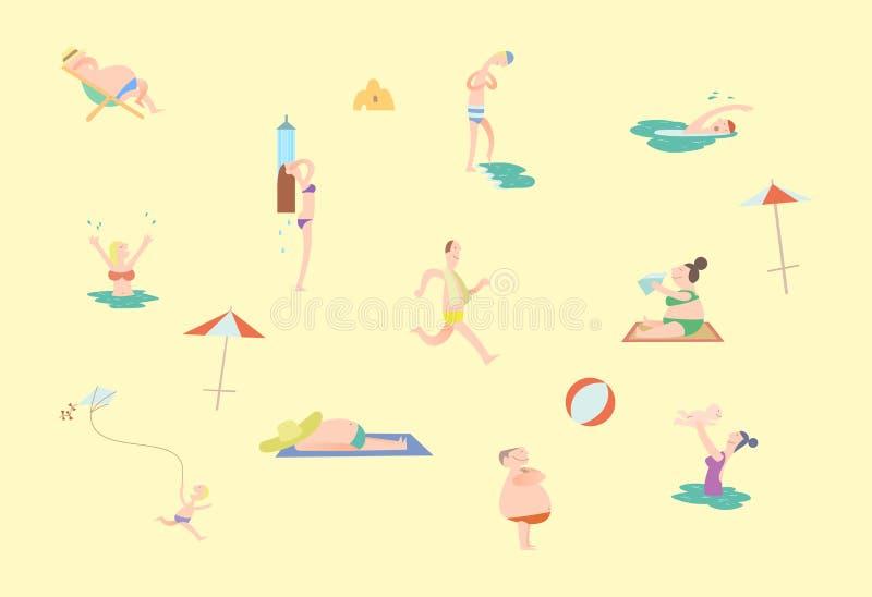 Gente minúscula en sistema de la playa stock de ilustración