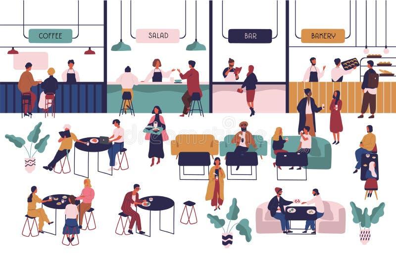 Gente minúscula que se sienta en las tablas en pasillo grande y la consumición y los vendedores que permanecen en los contadores  ilustración del vector