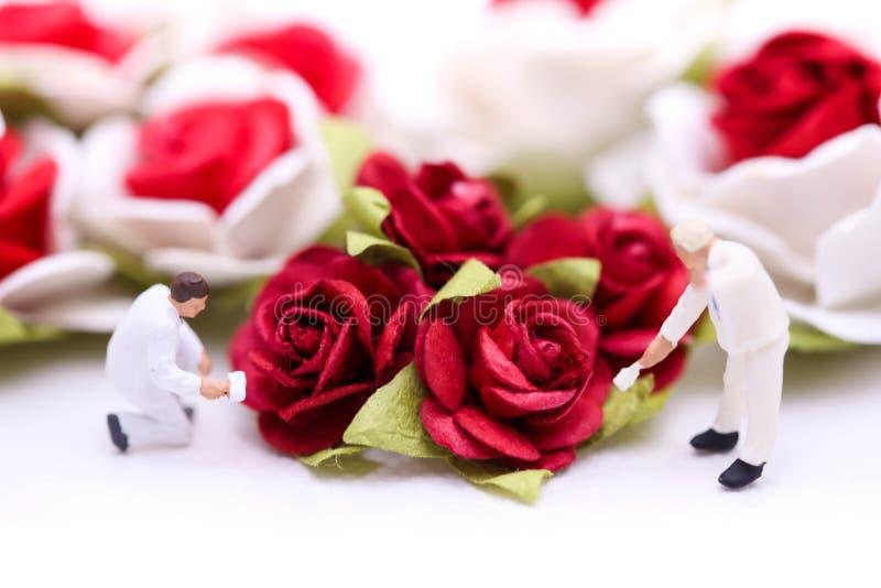 Gente miniatura: Combine al trabajador con las rosas rojas y las rosas blancas encendido imagen de archivo