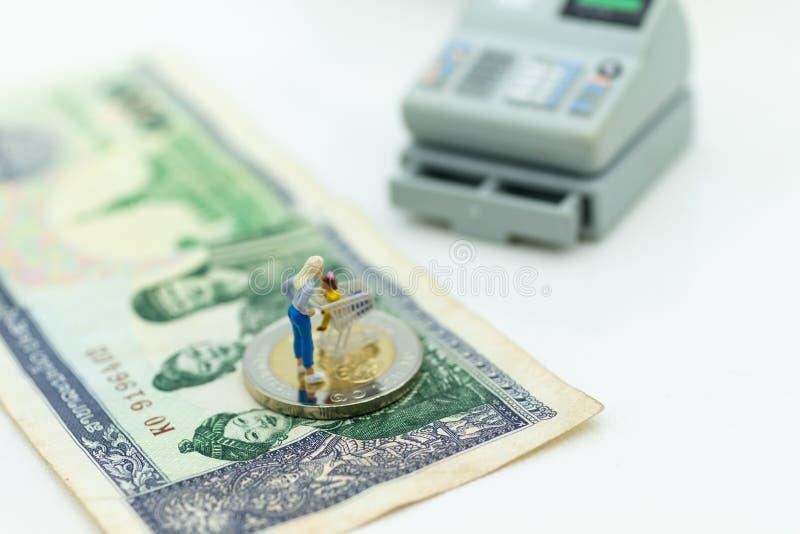 Gente miniatura con el carro de la compra en el dinero, uso de la imagen para el concepto del comercio al por menor del fondo fotos de archivo libres de regalías