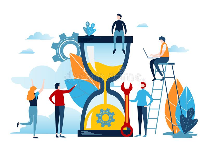 Gente miniatura con la arena grande del reloj Concepto de la gestión de tiempo Diseño gráfico de vector del ejemplo del negocio stock de ilustración