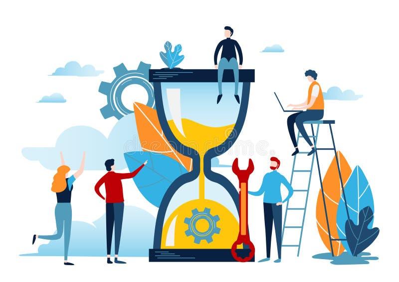 Gente miniatura con la grande sabbia dell'orologio Concetto della gestione di tempo Progettazione grafica di vettore dell'illustr illustrazione di stock
