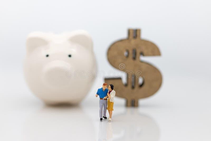 Gente miniatura: Coppia la parte anteriore stante di area del porcellino salvadanaio e del dollaro di legno Uso di immagine per i immagini stock libere da diritti