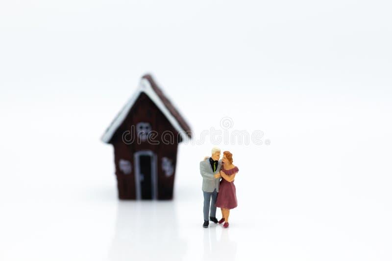 Gente miniatura: Frente abrazado pares del área de la casa Uso de la imagen para el día del ` s de la tarjeta del día de San Vale foto de archivo