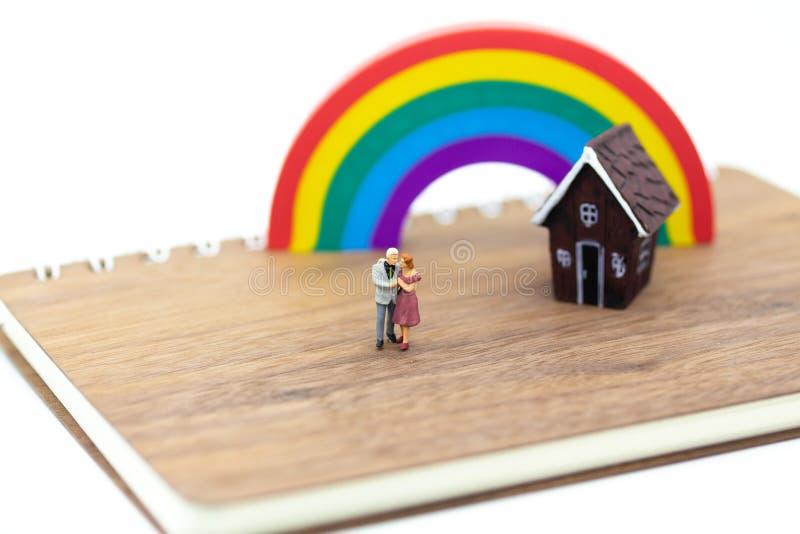 Gente miniatura: Frente abrazado pares del área de la casa Uso de la imagen para el día del ` s de la tarjeta del día de San Vale imagen de archivo