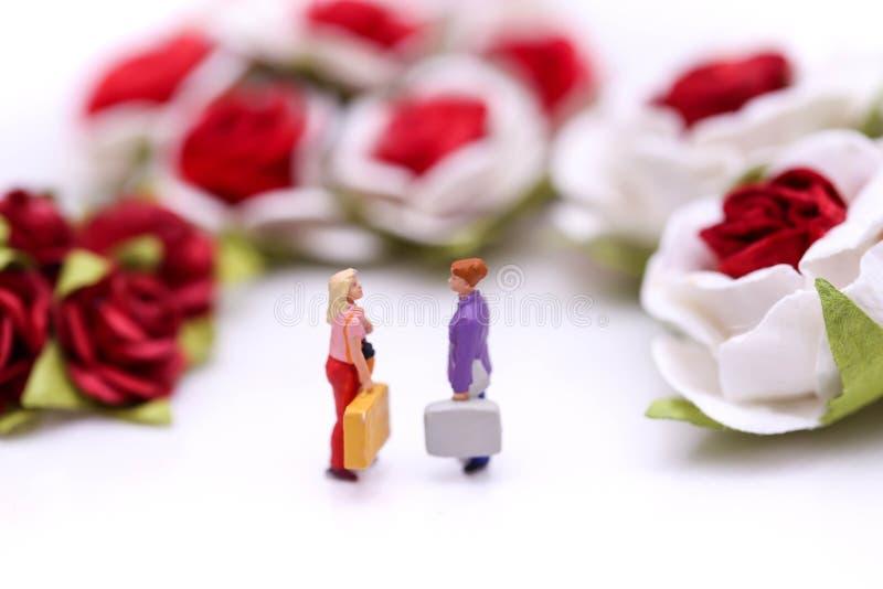 Gente miniatura: Pares del amor con las rosas rojas y las rosas blancas foto de archivo libre de regalías