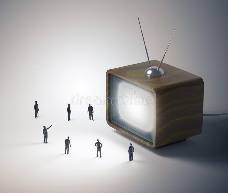 Gente minuscola e un set televisivo d'annata illustrazione di stock