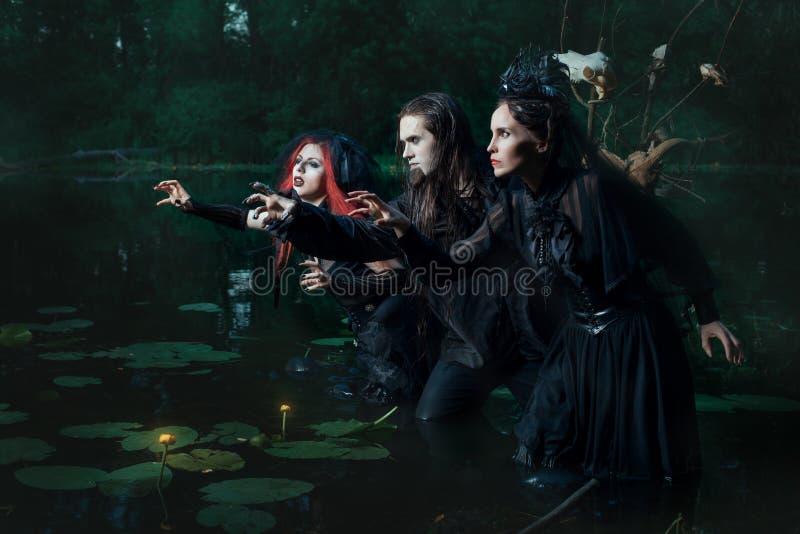 Gente mistica nella palude fotografia stock