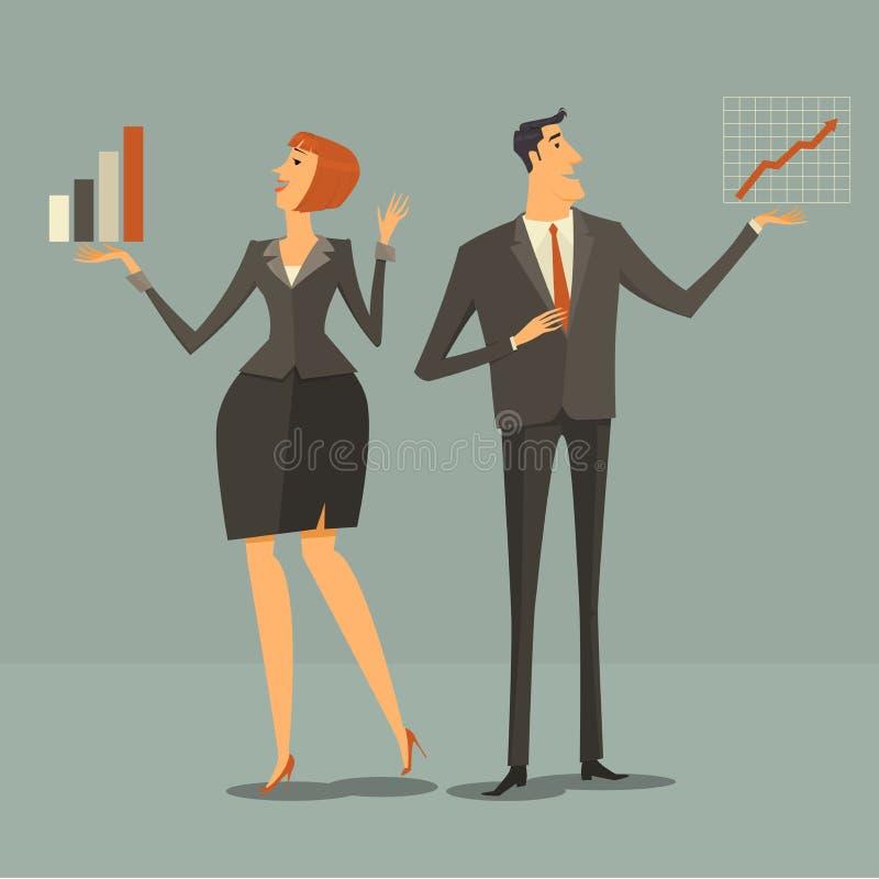 Gente moderna, mujer de negocios alegre llevando a cabo gráficos y cartas del crecimiento ilustración del vector