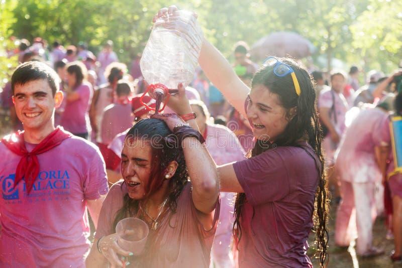 Gente mojada feliz durante Batalla del vino fotos de archivo