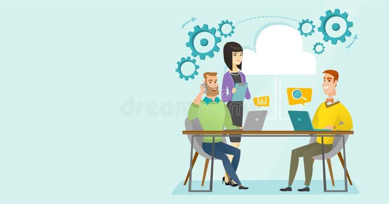 Gente multiétnica que trabaja en oficina debajo de la nube ilustración del vector