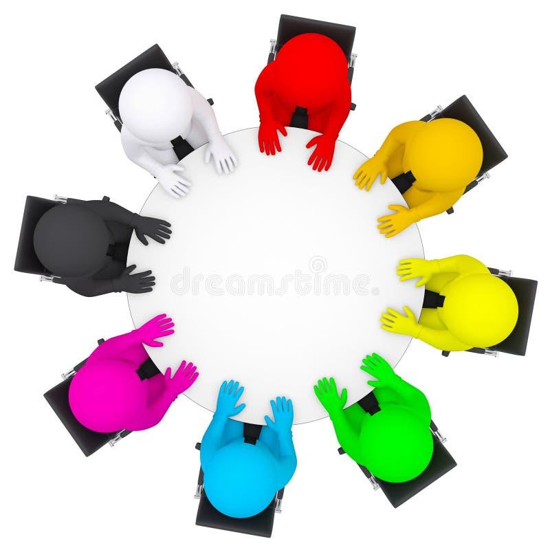 Gente multicolore che si siede ad una tavola rotonda illustrazione vettoriale