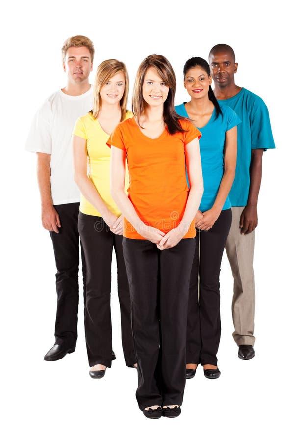 Gente Multiracial su bianco fotografia stock