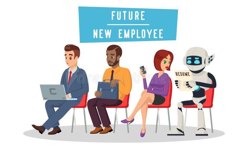 Gente multirracial y robot que se sientan en cola y para entrevista de trabajo que espera ilustración del vector