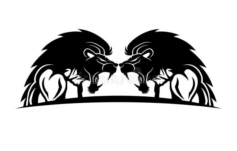 Gente muscular con las cabezas del león stock de ilustración