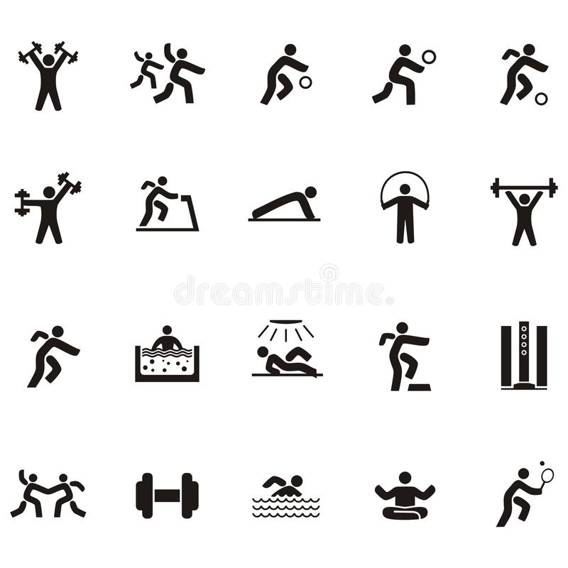 Gente negra del icono de la silueta implicada en deportes libre illustration