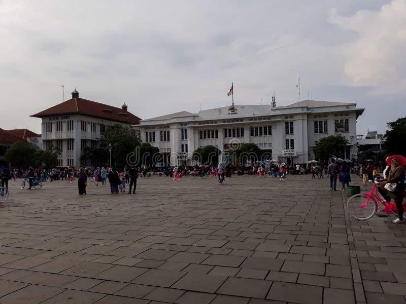 Gente non riconosciuta Museo di Batavia del museo di storia situato in Città Vecchia Kota Tua di Jakarta immagini stock libere da diritti