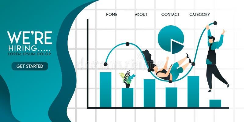 Gente o juego y caída del hombre de negocios en la barra o la línea carta, gráfico de sectores con la inscripción estamos emplean stock de ilustración