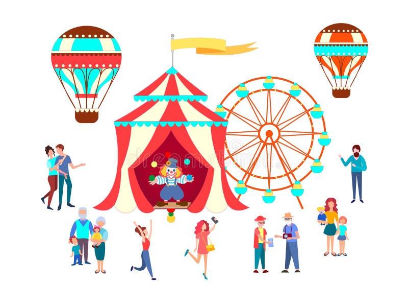 Gente, parejas, pensionistas, familias grandes, padres con los niños que van al circo, el justo ilustración del vector
