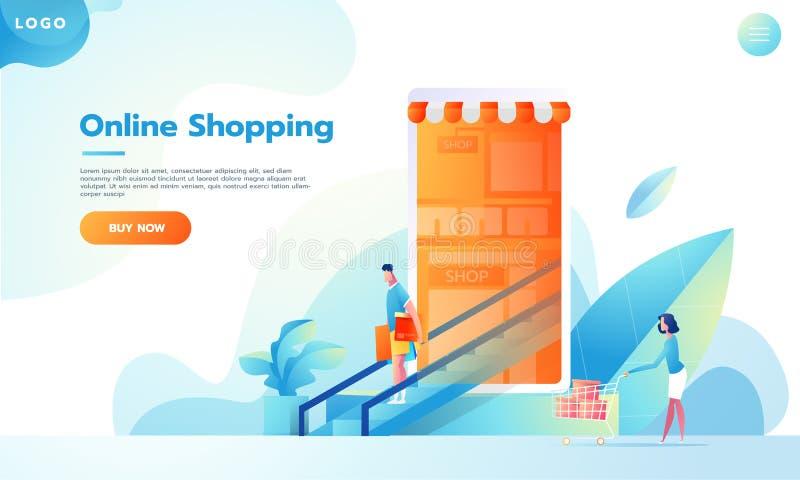 Gente piana moderna di progettazione e concetto di affari per il M.-commercio, di facile impiego ed altamente personalizzabili Ve illustrazione di stock