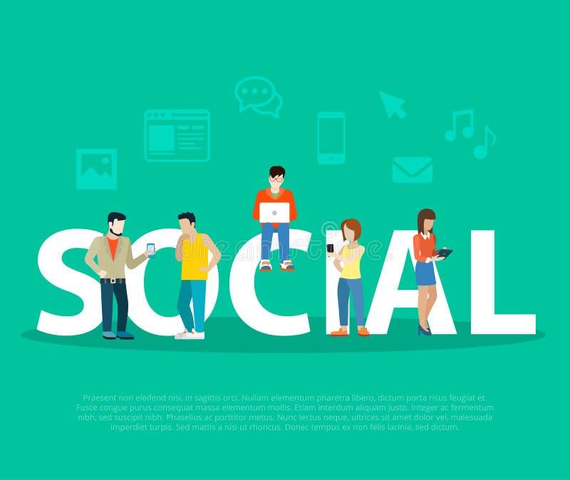 Gente plana de la promoción social de la red del negocio en l stock de ilustración
