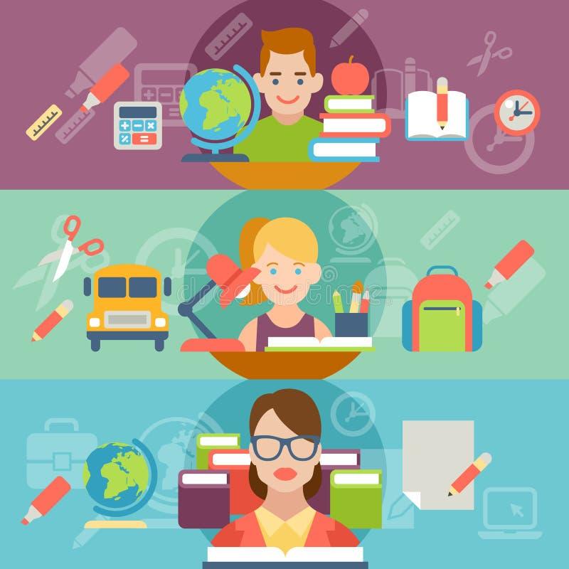 Gente plana del profesor del niño del alumno del estudiante de la educación libre illustration