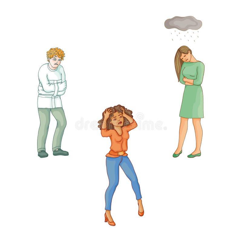 Gente plana del vector que sufre de enfermedad mental ilustración del vector