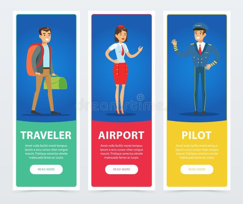 Gente plana en las banderas del aeropuerto fijadas ilustración del vector