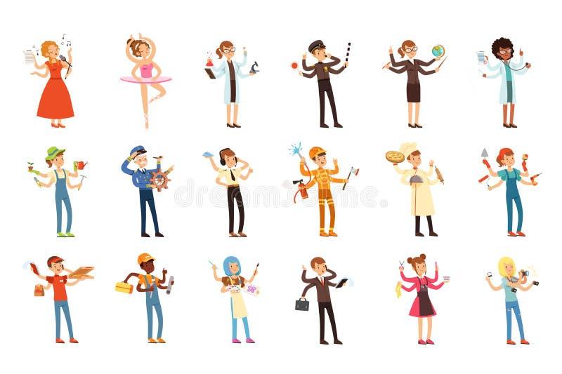 Gente polivalente fijada con muchas manos Trabajadores de diversas profesiones Caracteres planos del trabajador con las herramien libre illustration