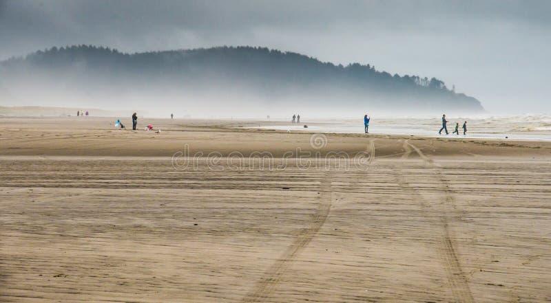 Gente que admira el poder de la naturaleza en los mares de Sandy Beach Watching The Rough y las ondas de balanceo que baten la or imagen de archivo libre de regalías