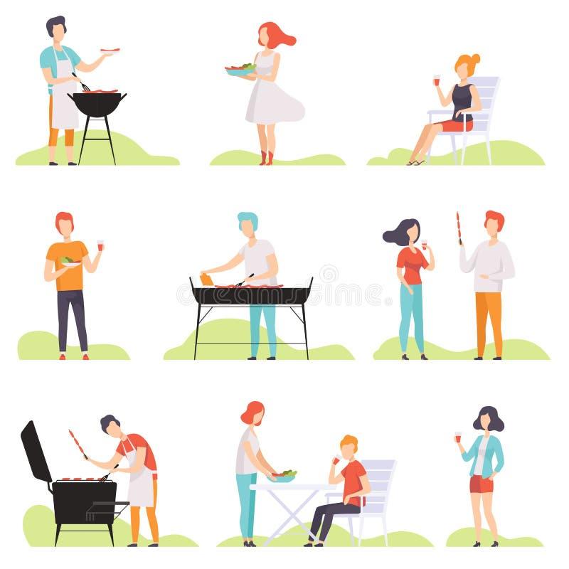 Gente que asa a la parrilla la barbacoa en una parrilla, los hombres y las mujeres teniendo ejemplos al aire libre del vector del stock de ilustración