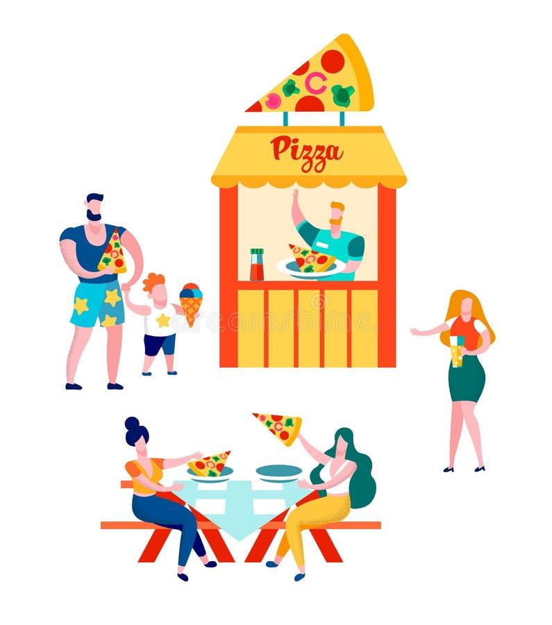 Gente que camina en el mercado, ocio del verano ilustración del vector