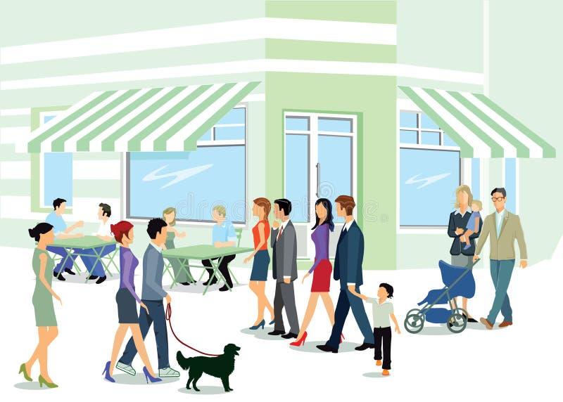 Gente que camina en la acera libre illustration