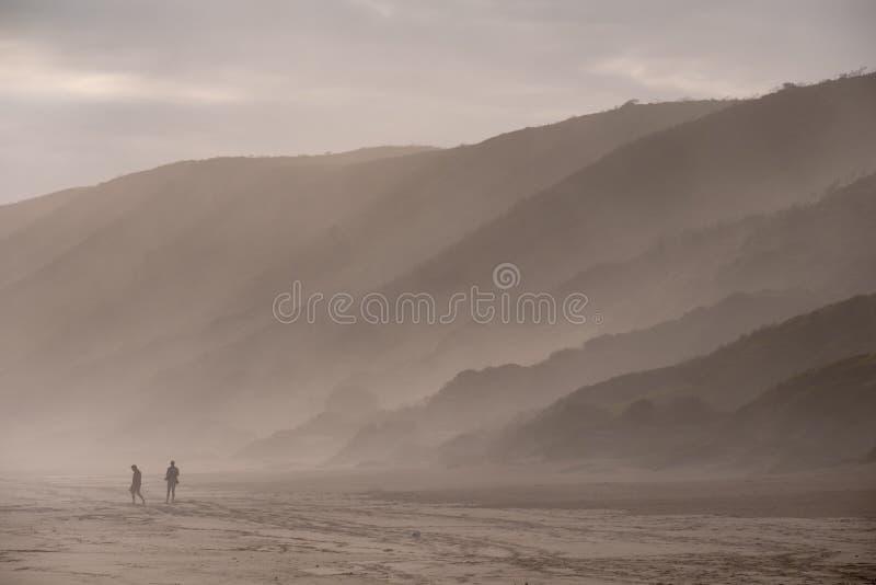 Gente que camina en la distancia lejana en la playa arenosa en Brenton en el mar, fotografiado en el ocaso Knysna, Sur?frica fotos de archivo